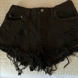 Black high waisted denim shorts